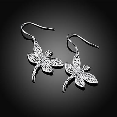 Dames Druppel oorbellen 3D Libel Stijlvol Eenvoudig Verzilverd oorbellen Sieraden Zilver Voor Dagelijks Werk 1 paar