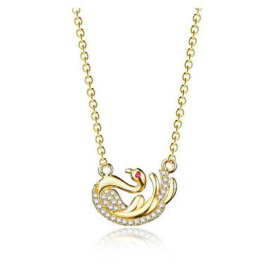 preiswerte Halsketten-Damen Kubikzirkonia Pendant Halskette Geometrisch Schwan Modisch Kupfer Gold 45+6 cm Modische Halsketten Schmuck 1pc Für Geschenk Alltag