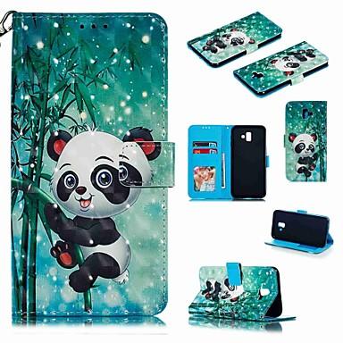 voordelige Galaxy J-serie hoesjes / covers-hoesje Voor Samsung Galaxy J7 (2017) / J7 (2018) / J6 (2018) Portemonnee / Kaarthouder / Schokbestendig Volledig hoesje Cartoon / Panda Hard PU-nahka