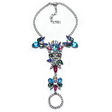 billige Damesmykker-Dame Multi-farge Krystallarmbånd geometriske Sukkertøy Statement Stilfull Europeisk Fuskediamant Armbånd Smykker Svart / Sølv / Regnbue Til Daglig