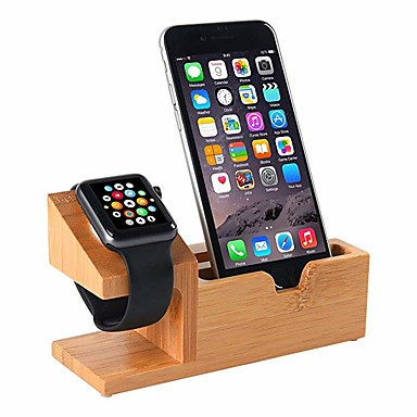 voordelige Apple Watch-bevestigingen & -houders-compatibel met apple watch stand usb oplaadstation telefoonhouder met 3 usb laadpoort bamboe hout laadstation voor 38mm en 42mm apple watch