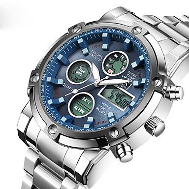 Χαμηλού Κόστους Ανδρικά ρολόγια-ASJ Ανδρικά Αθλητικό Ρολόι Ψηφιακό ρολόι Χαλαζίας Ιαπωνικά Ψηφιακό Ανοξείδωτο Ατσάλι Ασημί 30 m Ανθεκτικό στο Νερό Συναγερμός Ημερολόγιο Αναλογικό-Ψηφιακό Πολυτέλεια Κλασσικό Μοντέρνα - / Δύο χρόνια