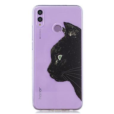 voordelige Huawei Y-serie hoesjes / covers-hoesje voor huawei honor 8x / huawei p smart (2019) patroon / transparante achterkant zwarte kattenkop zachte tpu voor mate20 lite / mate10 lite / y6 (2018) / p20 lite / nova 3i / p smart / p20 pro