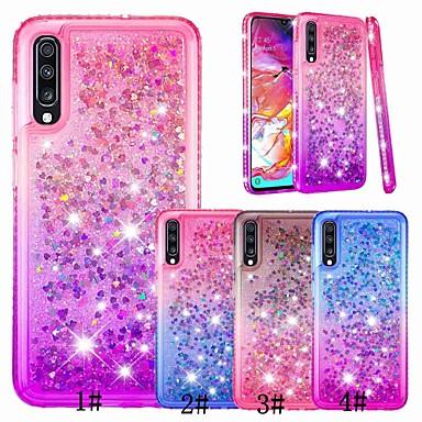 voordelige Galaxy A-serie hoesjes / covers-hoesje Voor Samsung Galaxy A6 (2018) / A6+ (2018) / Galaxy A7(2018) Strass / Stromende vloeistof / Transparant Achterkant Glitterglans / Kleurgradatie Zacht TPU