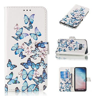 Недорогие Чехлы и кейсы для Galaxy S6 Edge-Кейс для Назначение SSamsung Galaxy S9 / S9 Plus / S8 Plus Кошелек / Бумажник для карт / со стендом Чехол Бабочка Твердый Кожа PU