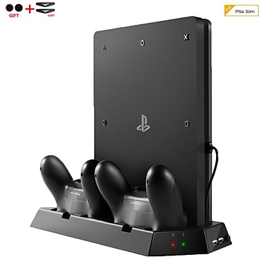 olcso Videojáték tartozékok-függőleges állványos hűtőventilátor töltőállomással a sony PlayStation 4 ps4 vékony konzolhoz, dupla usb hub töltő porthoz