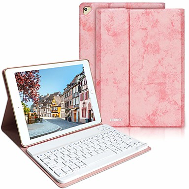 cheap iPad  Cases / Covers-Case For Apple iPad Air / iPad (2018) / iPad Air 2 Shockproof / with Keyboard / Auto Sleep / Wake Up Full Body Cases Solid Colored Hard PU Leather / iPad (2017)