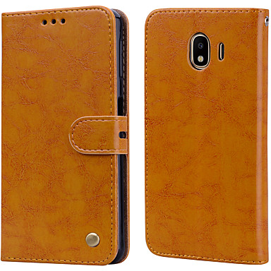 voordelige Galaxy J-serie hoesjes / covers-hoesje Voor Samsung Galaxy J4 (2018) Kaarthouder / Flip Volledig hoesje Effen Hard PU-nahka