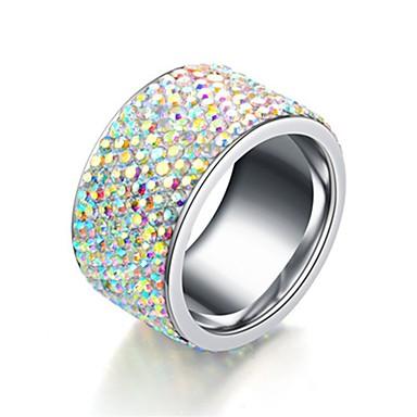 זול טבעות-בגדי ריקוד גברים / בגדי ריקוד נשים טבעת הטבעת / טבעת / זנב טבעת 1pc כסף פלדת על חלד / פלדת טיטניום מעגלי בסיסי / אופנתי מתנה / יומי תכשיטי תלבושות