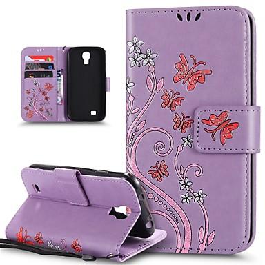 Недорогие Чехлы и кейсы для Galaxy S4 Mini-Кейс для Назначение SSamsung Galaxy S4 Mini Защита от удара / со стендом Чехол Бабочка / Цветы Твердый Кожа PU