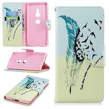 voordelige Hoesjes / covers voor Sony-hoesje Voor Sony Sony Xperia 10 / Xperia XZ2 / Xperia XA2 Ultra Portemonnee / Kaarthouder / met standaard Volledig hoesje Veren Hard PU-nahka
