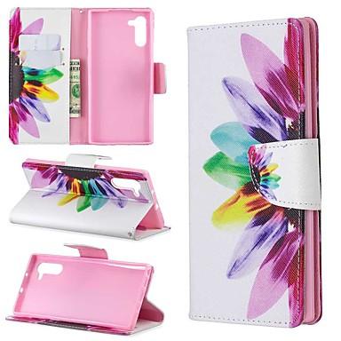 voordelige Galaxy Note-serie hoesjes / covers-hoesje Voor Samsung Galaxy Note 9 / Note 8 / Galaxy Note 10 Portemonnee / Kaarthouder / Schokbestendig Volledig hoesje Bloem PU-nahka