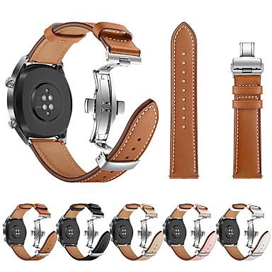 저렴한 Huawei 시계 밴드-시계 밴드 용 화웨이 시계 GT Huawei 스포츠 밴드 / 나비 버클 스테인레스 스틸 / 천연 가죽 손목 스트랩