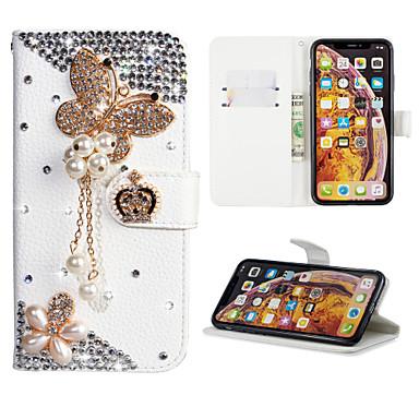 voordelige Galaxy J-serie hoesjes / covers-hoesje Voor Samsung Galaxy J7 (2017) / J6 (2018) / J6 Plus Portemonnee / Kaarthouder / Strass Volledig hoesje Vlinder PU-nahka