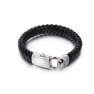 voordelige Heren Armband-Heren Dames Armband Touw Patroon Eenvoudig Leder Armband sieraden Zwart Voor Lahja Dagelijks Straat Club Festival
