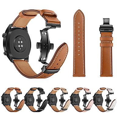 저렴한 Huawei 시계 밴드-화웨이 시계 gt 시계 밴드 검은 나비 버클 정품 가죽 스트랩 팔찌 벨트