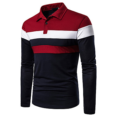 cheap Pre Sale-Men's Casual Casual / Daily Basic Polo - Color Block Black & Red, Patchwork Red