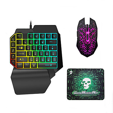 LITBest USB Wired Single Handed Gaming Keyboard Backlit Illuminous Keys with Wrist Breathing Lights Mouse and Pad Combos 3 Pieces a Kit