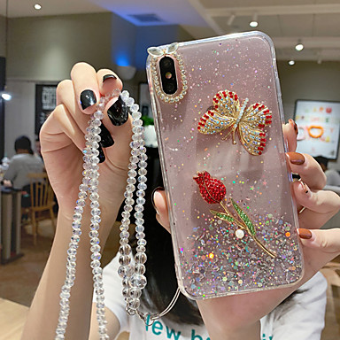 voordelige Galaxy S-serie hoesjes / covers-hoesje Voor Samsung Galaxy S9 / S9 Plus / S8 Plus Patroon / Glitterglans Achterkant Vlinder / Glitterglans / Bloem TPU