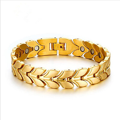 voordelige Heren Armband-Heren Armbanden met ketting en sluiting Klassiek Botanisch Stijlvol Titanium Staal Armband sieraden Goud / Zilver Voor Dagelijks