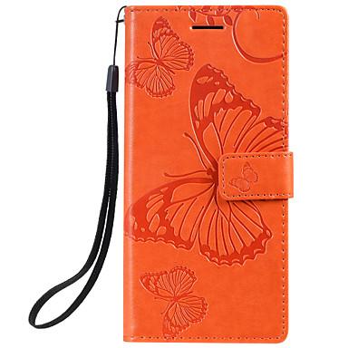 voordelige Galaxy A-serie hoesjes / covers-hoesje voor Samsung Galaxy Note 10 Galaxy Note 10 plus telefoonhoes PU-leer materiaal reliëf vlinderpatroon effen kleur telefoonhoes