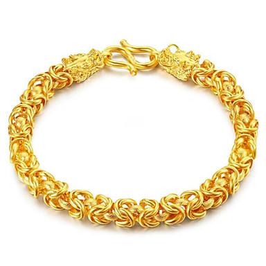 voordelige Heren Armband-Heren Dames Armbanden met ketting en sluiting meetkundig Draak Modieus Legering Armband sieraden Goud Voor Lahja Dagelijks