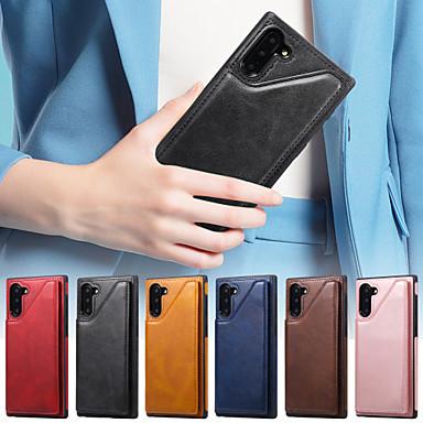 voordelige Galaxy Note-serie hoesjes / covers-hoesje voor samsung galaxy note 10 / note 9 / galaxy note 10 portemonnee / kaarthouder / met standaard achtercover effen gekleurd pu leer voor note 10 / note 10 plus / note 9 / note 8