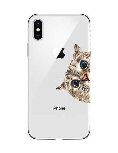 cheap iPhone Cases-Case For Apple iPhone X / iPhone 8 Plus Transparent / Pattern Back Cover Cat Soft TPU for iPhone X / iPhone 8 Plus / iPhone 8