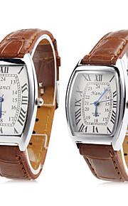 Homens Mulheres Casal Quartzo Relógio de Pulso Japanês Relógio Casual PU Banda Amuleto Marrom
