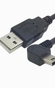 5 Pin Mini USB Tipo masculino anguloso izquierdo de 90 grados a USB 2.0 de datos masculino del cable de la carga de 50 cm
