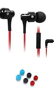 Moda AWEI ES-500i enchufe de 3.5mm en la oreja de aleación de aluminio Super Bass auriculares micrófono-Negro