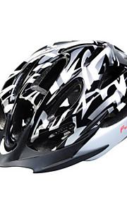 מחשב 15 פתחי אוורור FJQXZ + EPS לבן + שחורה רכיבה על אופניים קסדה אינטגרלי יצוק (56-62cm)