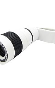 핸드폰 용 클립이있는 보편적 인 8x 망원 렌즈 - iphone 8 7을위한 흰색 samsung galaxy s8 s7