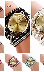 Mulheres Relógio de Moda Bracele Relógio Quartzo Couro Banda Preta Branco Azul Vermelho Roxa Marron Vermelho Azul Verde Caçador Azul Claro