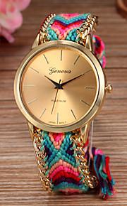 Mulheres Relógio de Moda Quartzo corda trançada Tecido Banda Boêmio Cores Múltiplas
