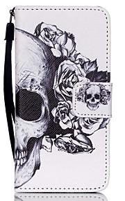 o novo cordão crânio pu material de couro de telefone celular cartão de aleta para o iPod Touch 5/6