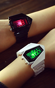 Homens Mulheres Casal Digital Relógio Esportivo LED Silicone Banda Amuleto Prata