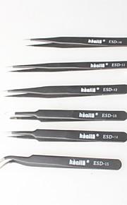 Black Non-magnetic Tweezers, Anti-static Bag For Electronics, Jewelry Making, Laboratories, Etc. (6P)