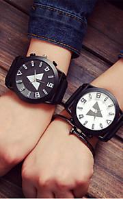 Homens Mulheres Casal Quartzo Relógio Esportivo Relógio Casual Silicone Banda Amuleto Fashion Cores Múltiplas
