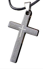 mand halskæde, kreative cross rustfrit stål, titanium stål vedhæng - enkelt cross