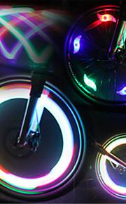 פנסי אופניים / אורות מהבהבים כובע שסתום / אורות גלגל LED פנסי אופניים רכיבת אופניים עמיד במים, אור LED, מצבי מרובות סוללה רכיבה על אופניים / IPX-4