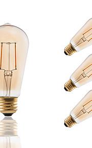 E26/E27 LED-glødepærer ST19 2 leds COB Mulighet for demping Dekorativ Ravgult 180lm 2200K AC 110-130V