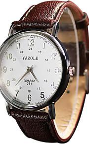 YAZOLE Mulheres Casal Quartzo Relógio de Pulso / Relógio Casual PU Banda Vintage Casual Legal Preta Branco Vermelho Marrom