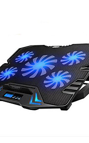 verstelbare LED-scherm Smart Control laptop cooling pad met 5 fans