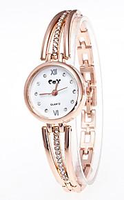 Mulheres Bracele Relógio Chinês Quartzo imitação de diamante Relógio Casual Lega Banda Fashion Dourada