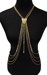 Dame Kropssmykker Krops Kæde / mavekæde Mode Vintage Boheme Stil Imiteret Perle Legering Geometrisk form Guld Smykker ForFest Speciel