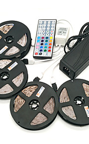 ZDM® 4x5M Light Sets 1200 LEDs SMD 2835 1 12V 6A Adapter / 1 44Keys Remote Controller / 1x 1 To 4 Cable Connector RGB Waterproof / Cuttable / Self-adhesive 100-240 V / 12 V / IP65
