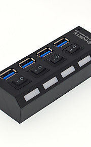 4 port usb 3.0 højhastigheds hub med switch