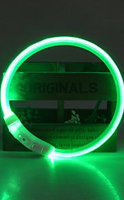 Hond Kraag LED verlichting Verstelbaar / Uitschuifbaar Oplaadbaar Veiligheid Effen TPU Geel Rood Groen Blauw Roze