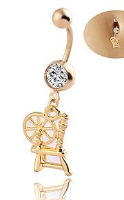 Dame Kropssmykker Navleringe Geometrisk luksus smykker Chrismas Klassisk Elegant Zirkonium Rhinsten Titanium Stål Geometrisk form Smykker